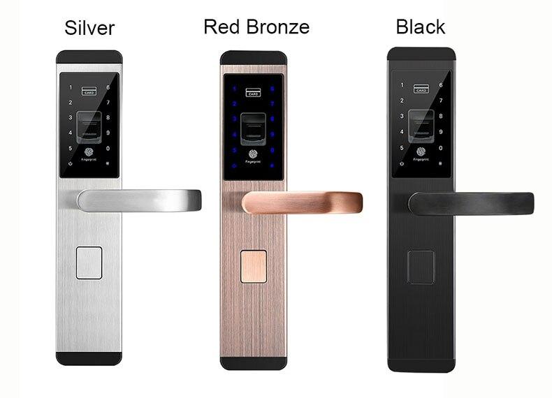 Fingerprint Door Lock Digital Fingerprint  Password  Key  Card 4 in 1 Lock Electronic Smart Door Locks For Home Office (17777)
