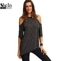 SheIn Summer Woman Fashion Tops Ladies Tee Shirts Casual Half Sleeve Cold Shoulder Black Crew Neck