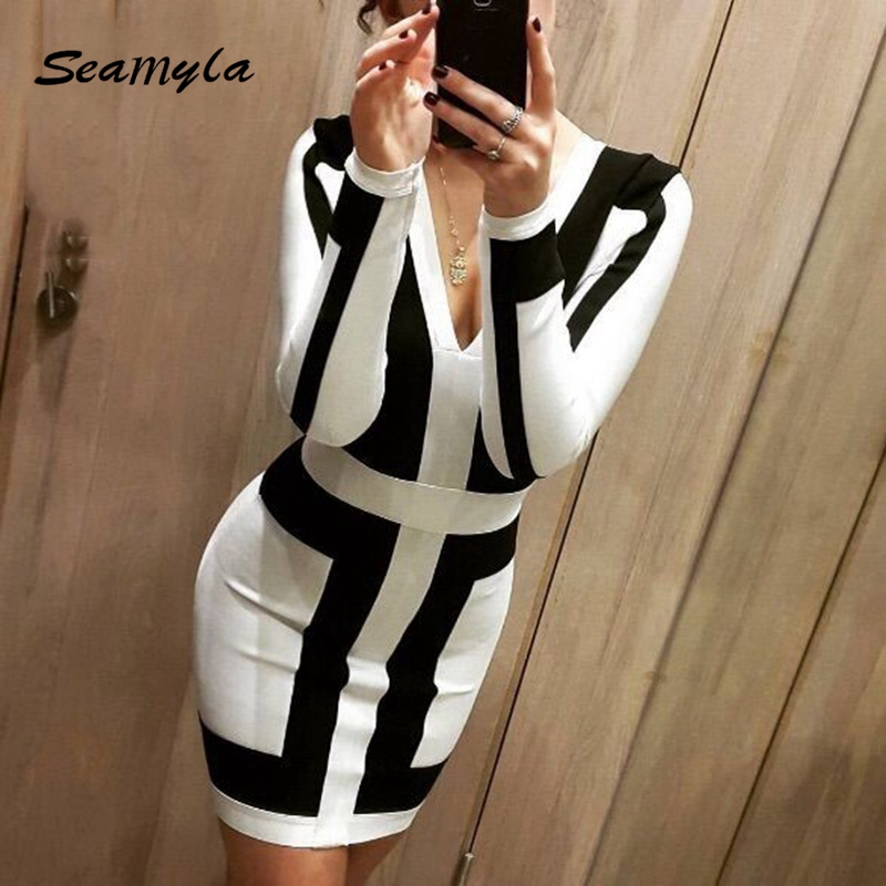 Buy Cheap 2017 Fashion Black And White Patchwork Bandage Dress Long Sleeve Summer Dress Sexy Deep V Neck Women Evening Party Dresses