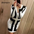 Save 3.99 on 2017 Fashion Black And White Patchwork Bandage Dress Long Sleeve Summer Dress Sexy Deep V Neck Women Evening Party Dresses
