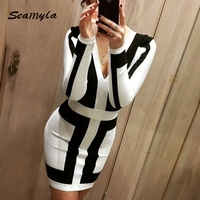 Wholesale Dropship 2015 New Fashion Black And White Patchwork Long Sleeve Deep V Neck Women Bodycon