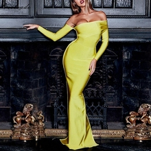 Adyce  Sexy Women Bandage Dress Long Sleeve Yellow Draped Off Shoulder Long Maxi
