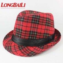 Плед Fedora шляпы для женщин Chapeau унисекс Мужские Трилби Панама Шляпы В Стиле Джаз шапки MEDB043