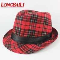 Plaid Fedora chapeaux pour femmes Chapeau unisexe hommes Trilby Panama chapeaux Jazz casquettes MEDB043
