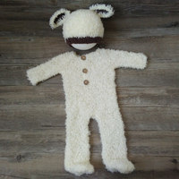 Curly yarn sheep outfits photography props,Handmade knit baby outfits for newborn photography props
