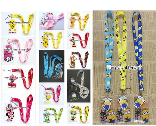 50Pcs cartoon minnie mickey mix High Quality Cartoon Lovely key chain Cute Lanyard ID Badge Holder