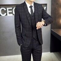 Vestito Plaid Uomo Slim Fit 3 pezzi vestiti di Moda grigio blu rosso Terno Masculino Da Sposa per Abiti Da Uomo Costume Homme Disegni CD30