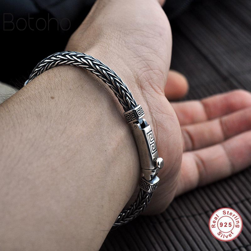 925 Sterling silver men Charm bracelet Braided Bracelet S925 Thai Silver Bracelet Women Jewelry Gifts Fashion jewelry best gift 925 sterling silver aquamarine bracelet with flower women thai silver gift dual string jewelry ch058534