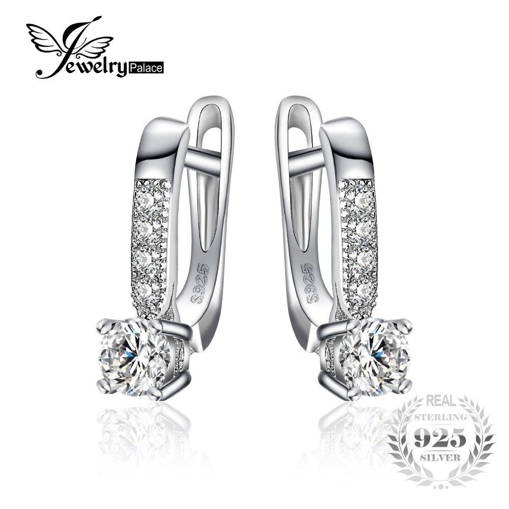 JewelryPalace 925 Sterling Silber Ohrringe 1ct Zirkonia CZ Clip Ohrringe Feine Schmuck Jahrestag Geschenke Für Frauen Mode