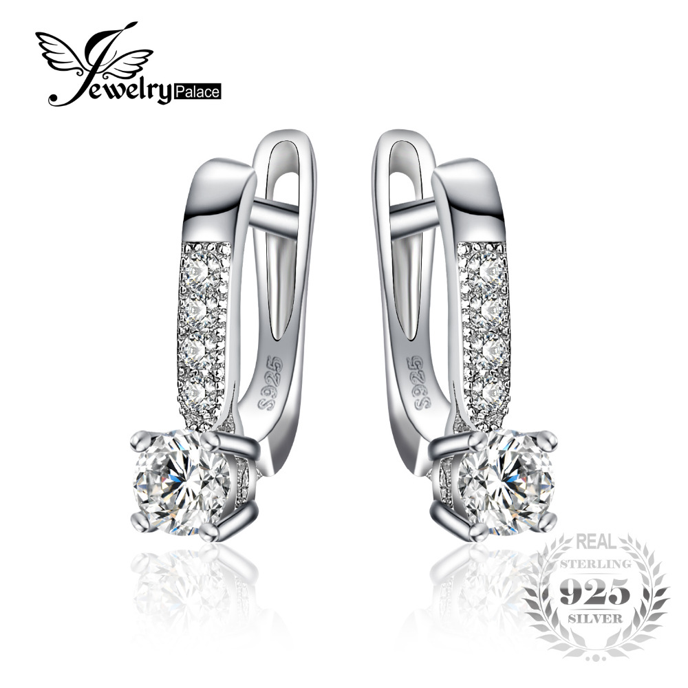 JewelryPalace 925 Sterling Silver Earrings 1ct Cubic Zirconia CZ Clip Earrings Fine Jewelry Anniversary Gifts For Women Fashion