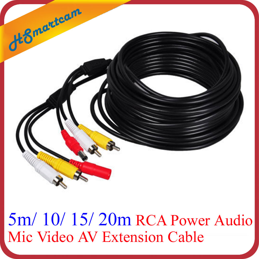 10m 33ft 65FT 20M RCA Power Audio Mic Video AV Extension Cable for CCTV HD 1080P AHD TVI CVI IR Camera DVR with RCA BNC Adapters