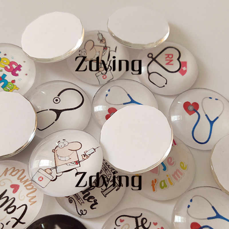 ZDYING 5pcs Vintage Red London Bus Round Glass Cabochon Dome Demo Beads Flat Back Making Findings For Keychain Necklace Brooch