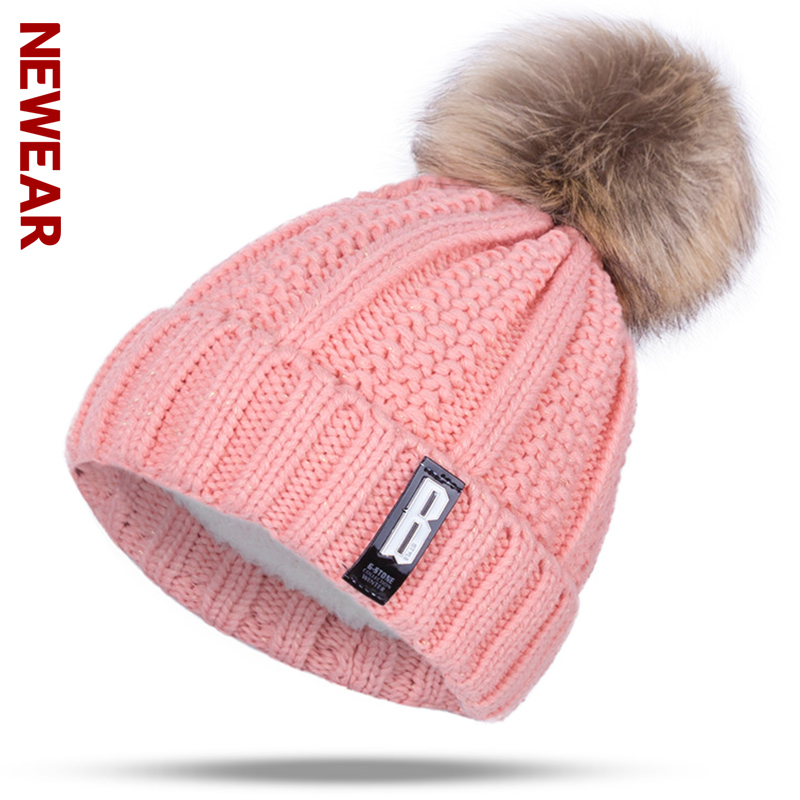 NEWEAR 2017 New Pom Poms Winter Hat For Women Fashion Solid Knitted Warm Skullies Beanies Female Brand Thick Caps Bonnets skullies beanies the new russian leather thick warm casual fashion female grass hat 93022