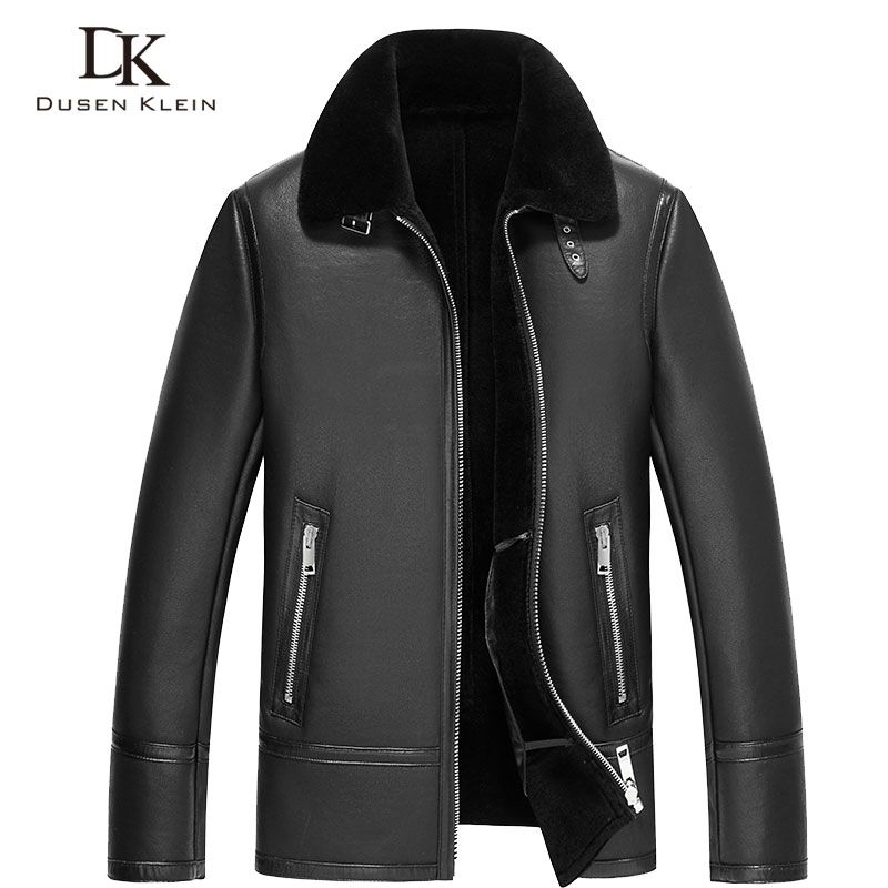 Genuine Leather Men's Jacket Short Dusen Klein New 2017 Leather Winter Shearing Leather coat Casual Thicker wool jacket 71C1603