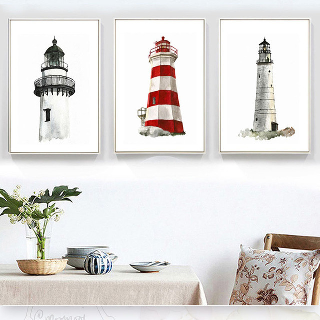Best Selling Nordic Modern Abstract Creative Architecture Lighthouses  Decorative Painting Posters Decorative Paintings