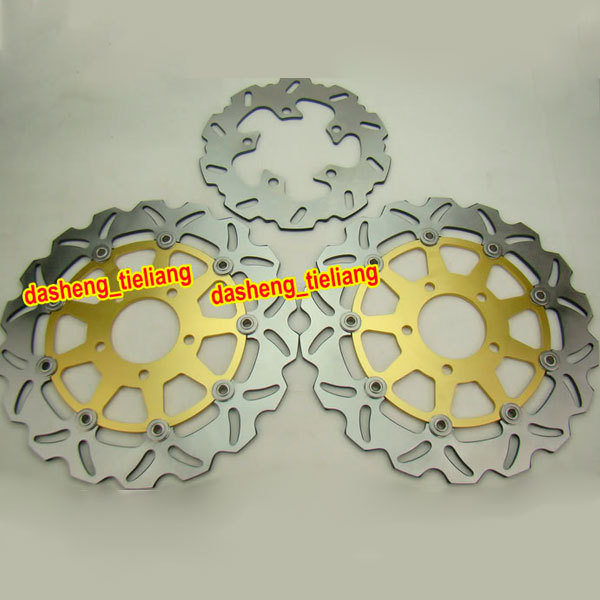 Front Rear Brake Disc Rotors Set For Suzuki 2004 2005 GSXR 600 750 K4 & 2003-2004 GSXR 1000 K3, Motorcycle Parts & Accessories for suzuki sv400 2003 2013 sv650 2003 2005 dl650 2004 2014 dl1000 2002 2010 motorcycle front and rear brake pads set