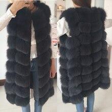 2017 Natural Real Fox Fur Vest, female winter warm vest waistcoat,  long Fur Coat, Free shipping, Size S M L XL XXL