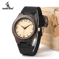 BOBO BIRD 204 Ladies Luxury Brand Womens Ebony Wooden Bamboo Wrist Watch Dress Style Female Ladies