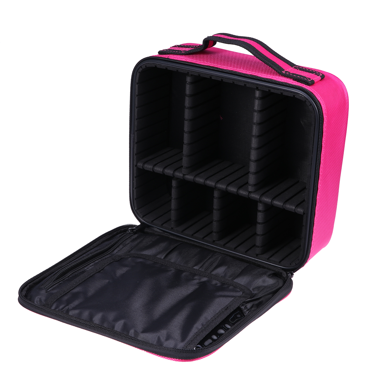 1pc Professional Multi-functional Cosmetic Travel Bag Makeup Storage Bage With Brush Pockets