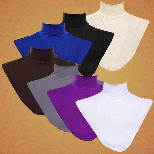 Women's Modal False Collar Hijab Moslem Islamic Pure Color Neck Cover Loop Scarf
