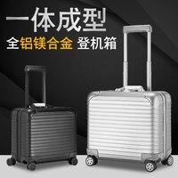 100% Полный Алюминий Rolling Чемодан 18 дюймов чемодан кабина пользовательские Чемодан Бизнес тележка мин скутер чемодан тележка Винтаж S