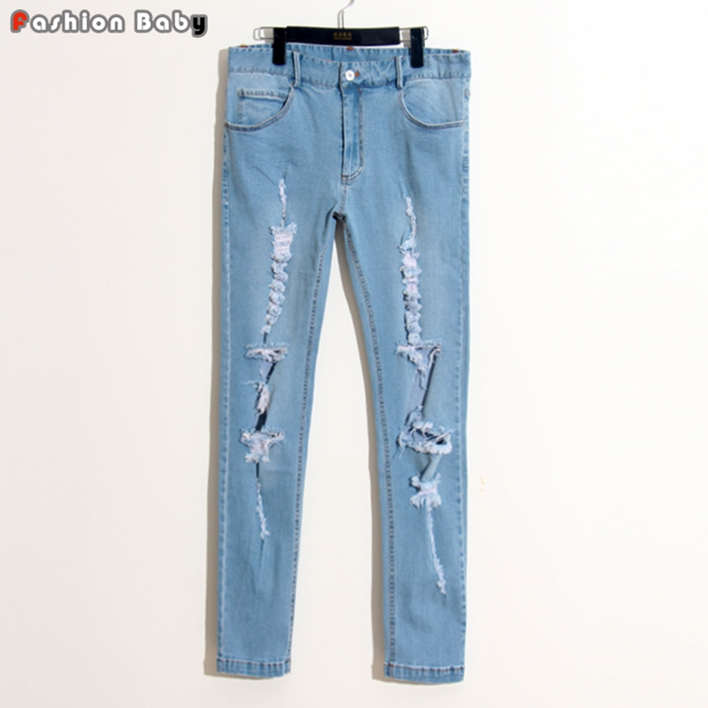 Quality Men's Holes Design Blue Ripped Jeans Pant Fashion Cool Straight Elastic Slim fit Streetwear Beggar Jeans men jeans fear of god ripped blue mens holes leisure straight denim designer mens jeans streetwear clothing pant oversize 28 40