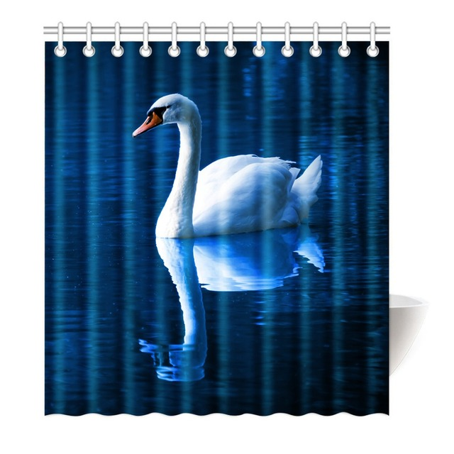 Beautiful Elegant White Swan Blue Water Shower Curtain Printing Waterproof Mildewproof Polyester Fabric Bath