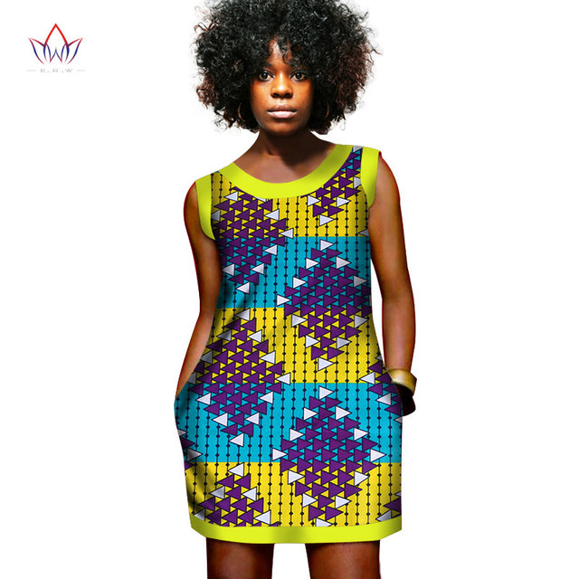 summer african wax dresses for women mini Dress Vest Printed Dashiki Dresses Africa Printed Clothing african bazin dress WY452