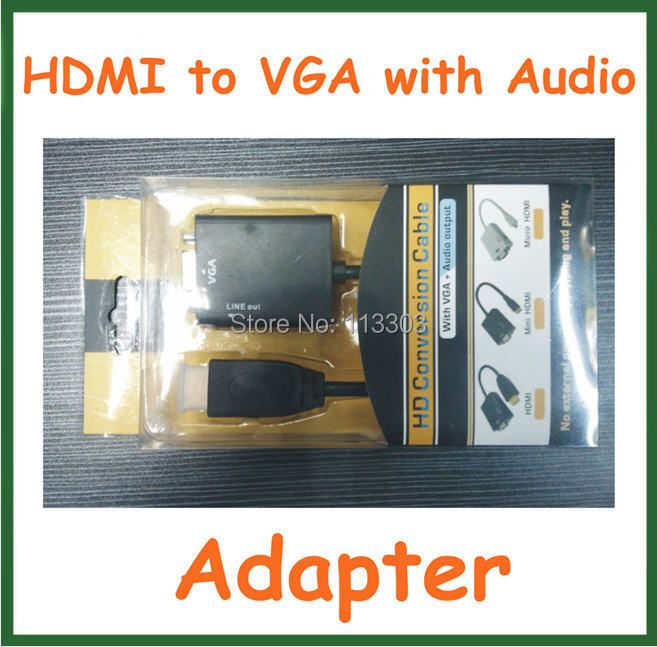 HDMI to VGA with Audio Cable HDMI to VGA Adapter Male to Female Converter 1080p for TV PC Xbox 360 PS3 Laptop Connector