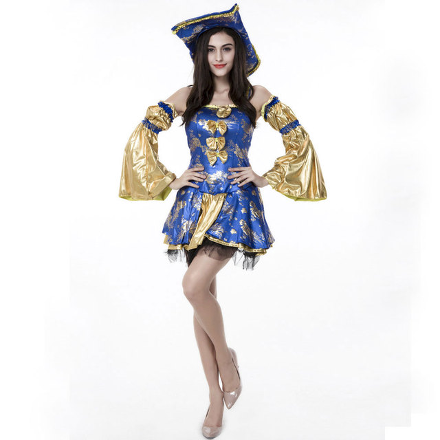 Halloween Purim Costumes Adult Women Blue Gold Noble Caribbean Pirate  Costume Fantasy Dress Cosplay Clothing 9c15c3b368b7