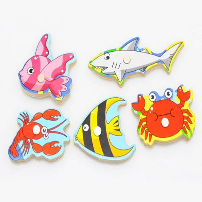 New Wooden Magnetic 3D Jigsaw Children Educational Fishing Puzzles Baby Toys Wooden Funny Game Toy For Kids Baby Gifts BM88 6