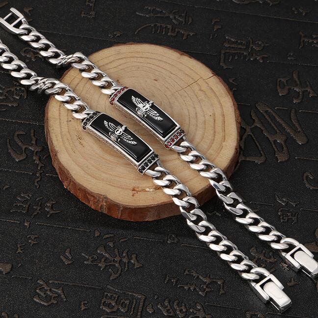 Handcrafted 925 Silver Eagle Bracelet Sterling Onyx Eagle Man Bracelet Vintage Pure Silver Link Bracelet Man Jewelry Gift