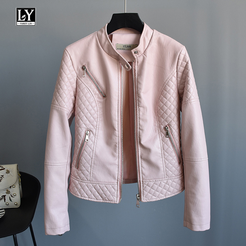 Ly Varey Lin Autumn Stand Collar Long Sleeve Pu Faux Soft   Leather   Women Black Pink Motorcycle Coat Punk Zipper Bomber Outerwear