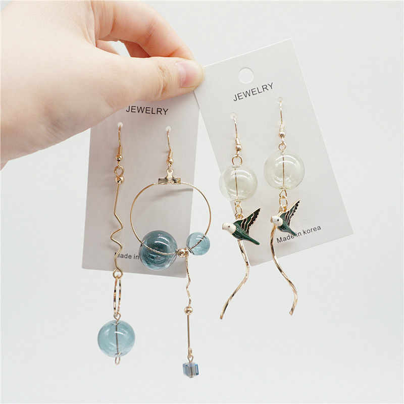 Original Design Bubble Long Dangle Earrings For Women Dreamlike Glass Ball Korean Drop Earrings Fashion Jewelry 2018 Top Quality