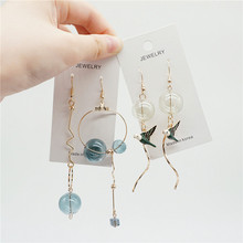 Original Design Bubble Long Dangle Earrings For Women Dreamlike Glass Ball Korea