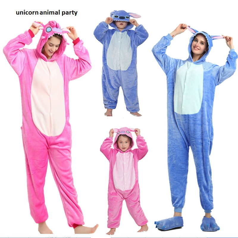 Vuxen Flannel Kigurums Unisex Blå Rosa Stitch Pyjamas Animal Onesie One Piece Pyjamas Cosplay Kostym Jumpsuit Unisex Nightwear