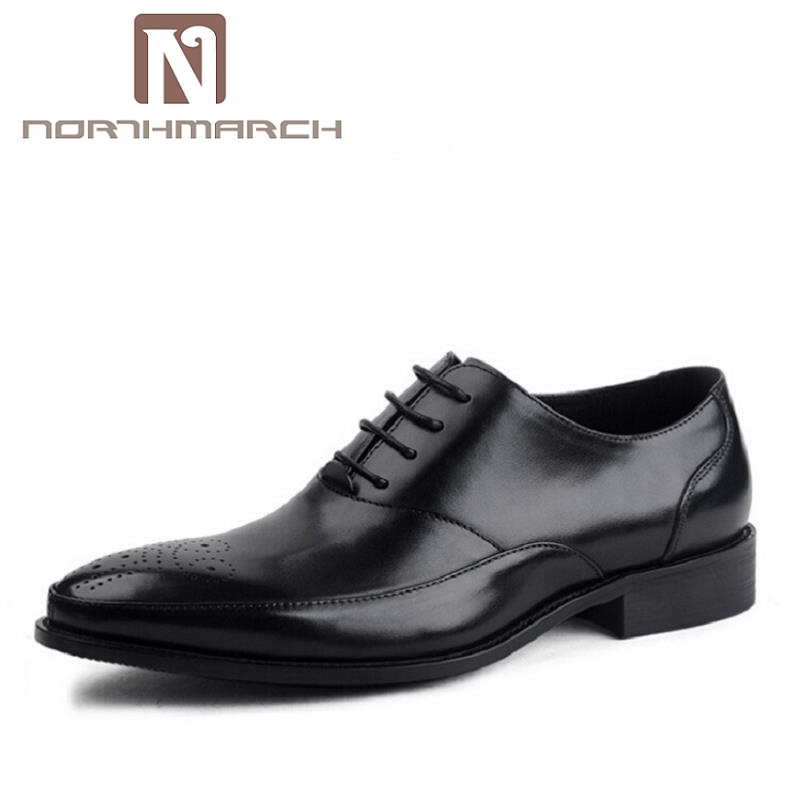 NORTHMARCH Classic Lace Up Men Brogue Dress Shoes Genuine Leather Black Formal Office Business Man Footwear chaussure homme 2017 classic polka dot lace up men brogue dress shoes genuine leather brown black formal office business man suit shoe e71815 21 page 9