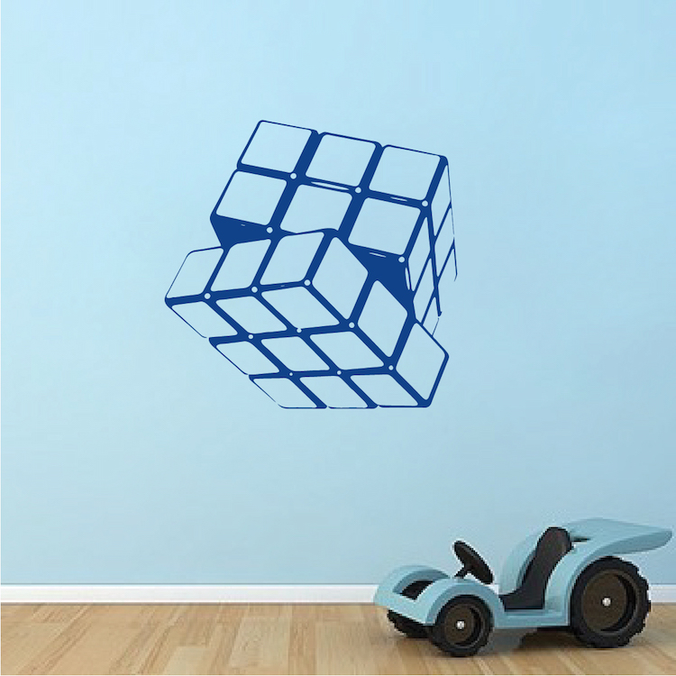 Rubik cube vinyl wall decal living room home decor removable wall stickers kids bedroom art - Cube wall decor ...