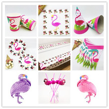 Flamingos Birthday Party Decorations Tableware Flag Cup Plates Tablecloth Straws Kids Event Flamingos Party Decoration Favors flamingos