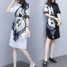 Spring and summer new style Temperament shirt stitching dress Mid-length printed chiffon