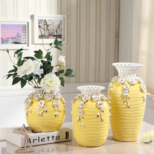 Creative Porcelain Engrave Hollow And Handicraft Yellow Flower