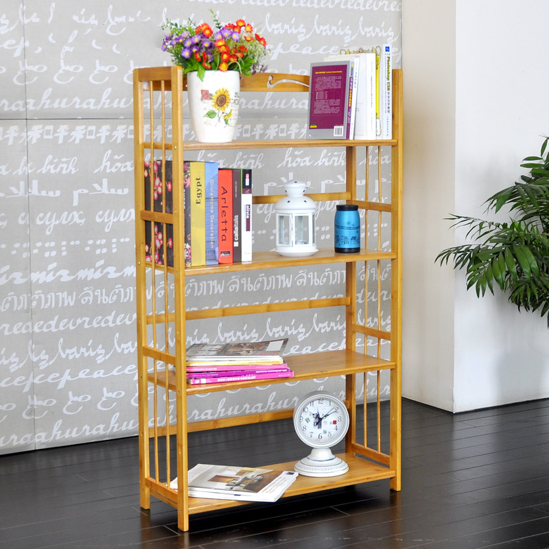 Modern simple bamboo and bamboo simple bookshelf removable storage rack shelf student bookshelf office furniture desktop office simple small bookshelf student computer desk shelf