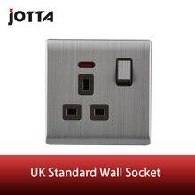 Английская стандартная металлическая настенная розетка 13А 250 В с одной кнопкой светодиодный светильник-индикатор в британском стиле