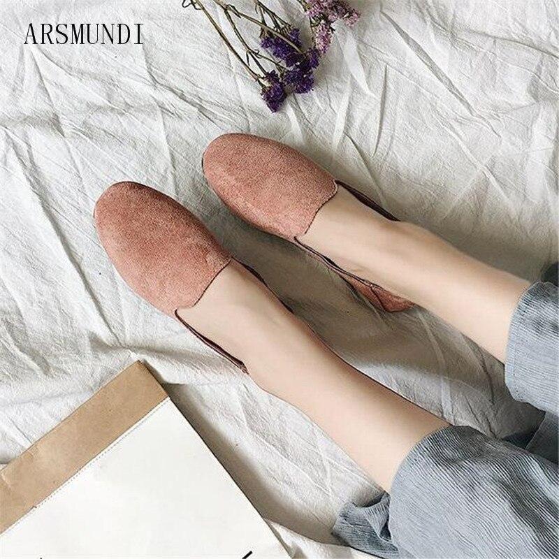 Sur Mode Rond Simples kaki Dépoli Noir Chaussures Glissement Plat Casual Visage Bout rose M104 Mocassins Femelle Femmes Arsmundi Solide xqwSRgw
