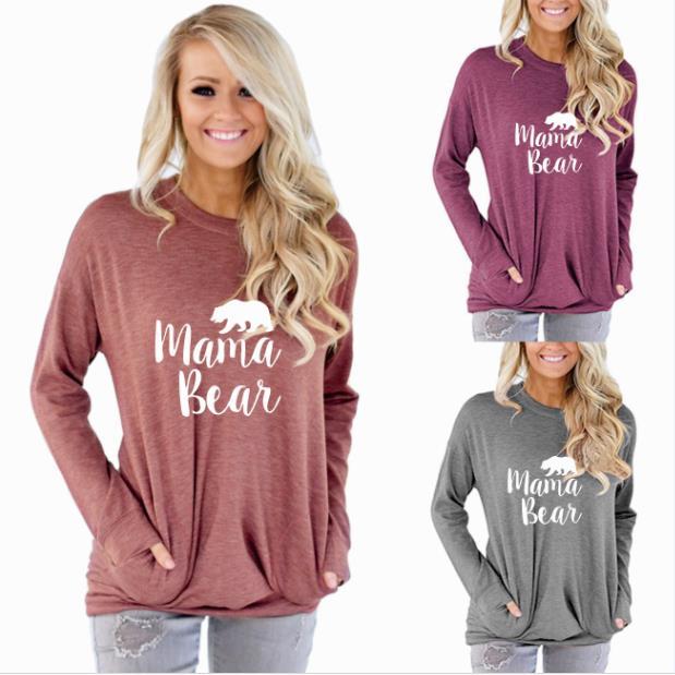PADDY DESIGN Mama Bear Autumn Winter Long Sleeve Pockets Women T-shirt Tumblr Graphic Cute Mom Top Tee For Ladies T Shirt