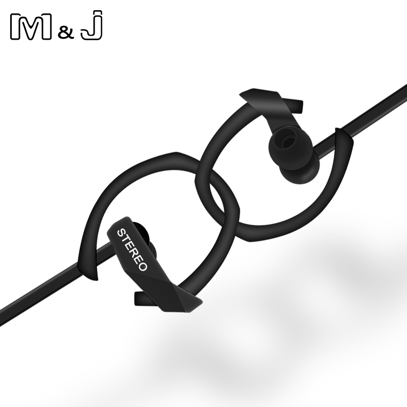 M & J M05 3.5mm Super Bass Wired Sport Cuffie Stereo Cuffie da corsa con microfono per PC Iphone Samsung Xiaomi