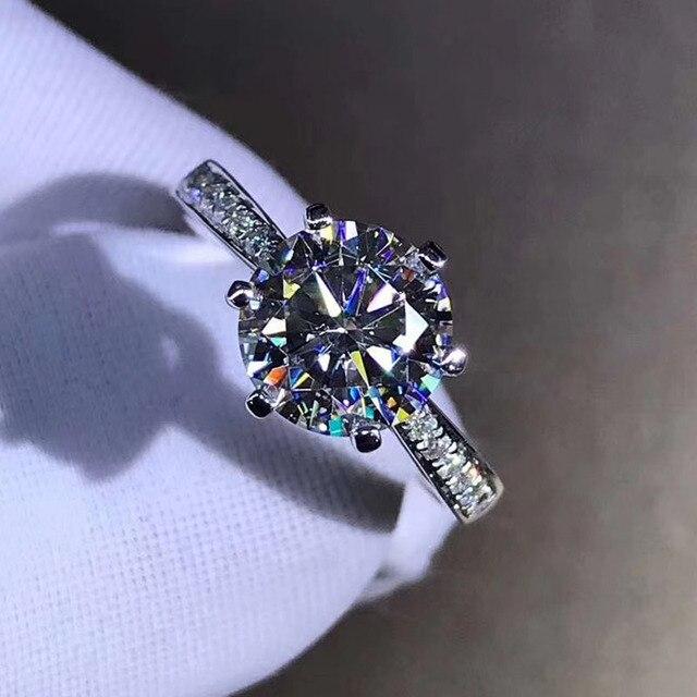 925 แหวนเงินแท้ 1CT 2CT 3CT สไตล์คลาสสิก Moissanite แหวนเพชรงานแต่งงานครบรอบเครื่องประดับ GRA certifica
