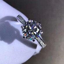 Anillo de Plata de Ley 925 con diamante moissanita, anillo de estilo clásico de 1ct, 2ct, 3ct, joyería de aniversario para fiesta de boda con GRA certificada