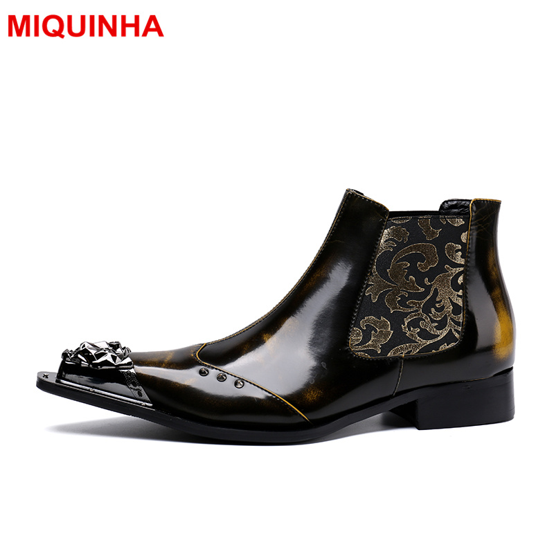 MIQUINHA Metal Pointed Toe Men Sapatos Masculino Chaussure Homme Men Ankle Boots Embroidered Flower Height Increasing Shoes luxury fashion men crystal flats metal pointed toe huarache slip on wedding shoes man 36 46 chaussure homme sapato masculino