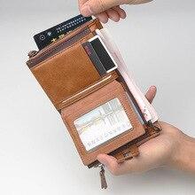 Baellerry Leather Men Wallets Double Zipper Coin Pocket Male Black Brand Designer Men purse Large Card Holder clutch Wallet W017